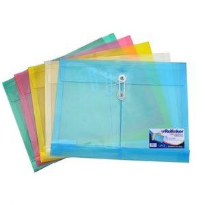 Sobre Plástico Horizontal con Cordel - Tamaño A4 - Color Celeste