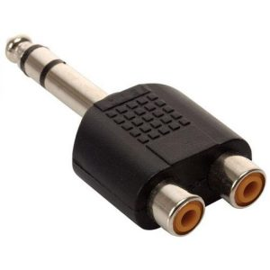 Adaptador 2 jacks RCA a Conector 6.3 mm estéreo