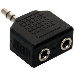 Adaptador de 2 jacks 3,5 mm a Conector 3,5 mm, estéreo