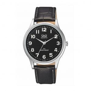 Reloj para Hombre de Pulsera de Cuero marca Q&Q color Negro
