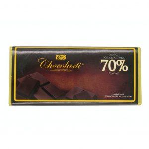 Barra de Chocolate Oscuro con 70% cacao de 90gr marca Chocolarti