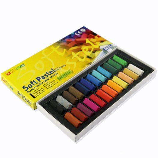 Caja de 24 Crayones Pastel Seco - Barra Pequeña - Marca Mungyo