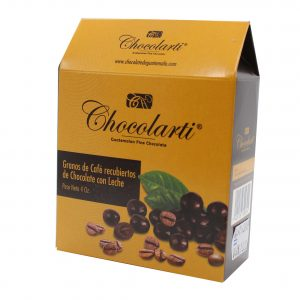 Caja de Granos de Café Cubiertos de Chocolate - Marca Chocolarti - 4oz.
