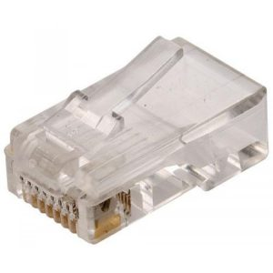 Conector telefónico modular RJ45 de 8 contactos para cable plano marca Steren
