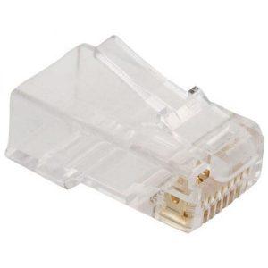 Conector RJ45 de 8 contactos CAT 5e para cable redondo marca Steren