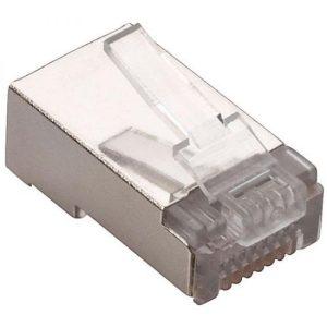 Conector blindado RJ45 de 8 contactos FTP o STP CAT 5e, para cable redondo