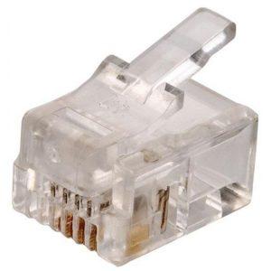 Conector Telefónico modular RJ11 de 4 contactos para cable plano