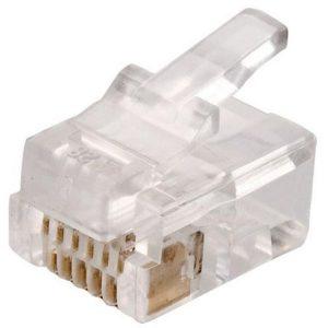 Conector Telefónico modular RJ11 de 4 contactos para cable redondo