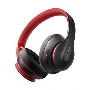 Audífonos Bluetooth SoundCore Life Q10 marca Anker color Negro con Rojo