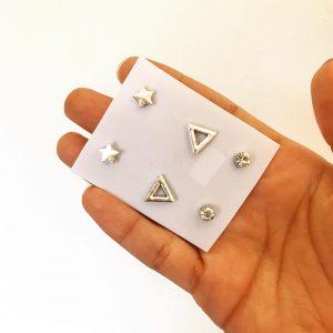 Set de tres aretes pequeños plateados con formas - triangulo, estrella y zirconia