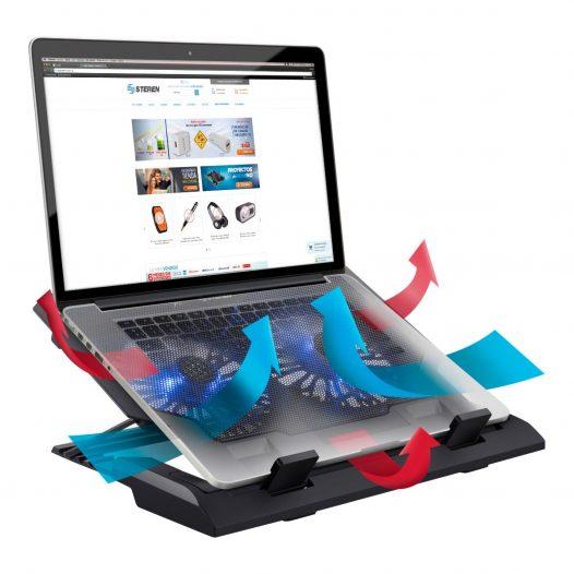 Ventilador para Laptop de hasta 17 Pulgadas con Ventilación Ajustable marca Steren