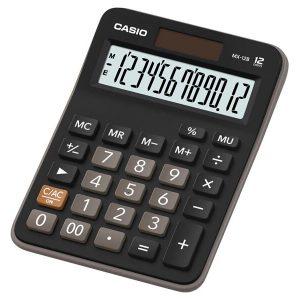 Calculadora Práctica de 12 Dígitos - Color Negro con Gris - Marca Casio