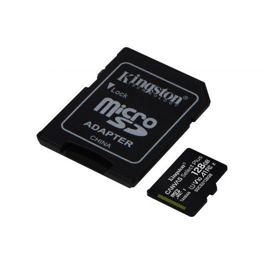 Tarjeta MicroSD de 128GB Canvas Select Plus Clase 10 marca Kingston para Android