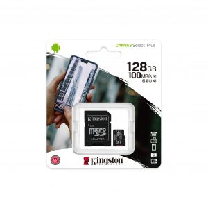 Tarjeta MicroSD de 128GB Canvas Select Plus Clase 10 marca Kingston para Android