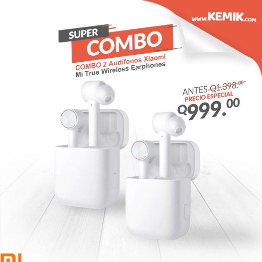 Combo 2 Audifonos Bluetooth Xiaomi Mi True Wireless Earphones Color Blanco