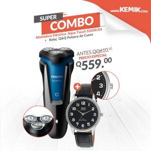 Combo  Afeitadora Eléctrica Phillips Aqua Touch S1030/04 + Reloj para Hombre de Pulsera de Cuero marca Q&Q color Negro
