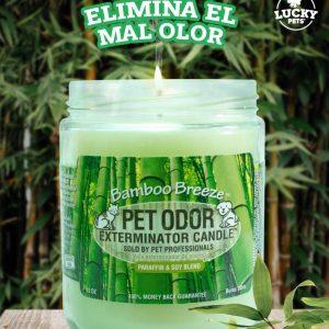 Candela Eliminadora de Olores fragancia Brisa de Bambú marca Lucky Pets