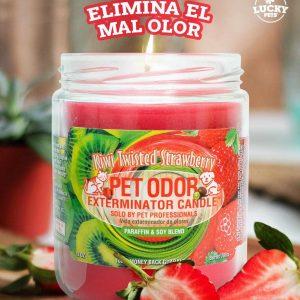 Candela Eliminadora de Olores fragancia Fresa Kiwi marca Lucky Pets