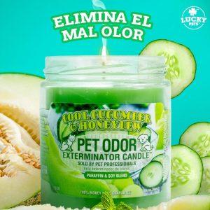 Candela Eliminadora de Olores fragancia Pepino Fresco y Melón Dulce marca Lucky Pets