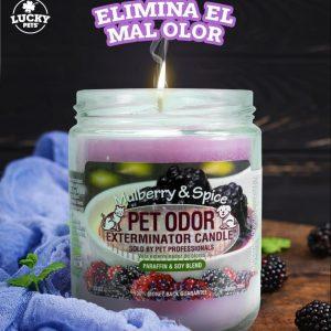 Candela Eliminadora de Olores fragancia Moras y Especies marca Lucky Pets
