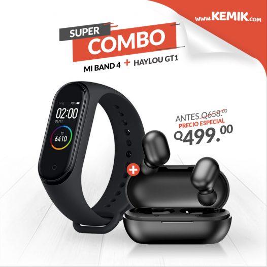 Combo Mi Band 4 + Audífonos GT1 marca Haylou-Xiaomi color Negro