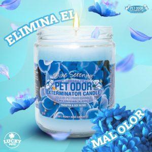 Candela Eliminadora de Olores fragancia Serenidad Azul marca Lucky Pets