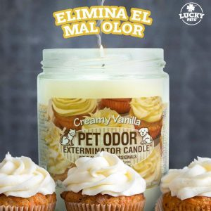 Candela Eliminadora de Olores fragancia Vainilla Cremosa marca Lucky Pets