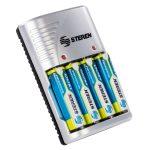 """Cargador de Baterias (Pilas) """"AA, AAA y 9V"""". Incluye 4 pilas AA marca Steren"""