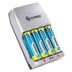 """Cargador Rápido de Baterias (Pilas) """"AA y AAA"""". Incluye 4 pilas AA marca Steren"""