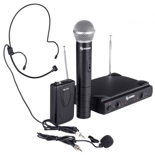 Kit de 2 micrófonos inalámbricos VHF de mano y solapa o diadema marca Steren