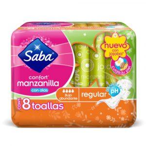 "Toallas Intimas ""Confort Manzanilla Regular"" con Alas 8 Toallas marca Saba"