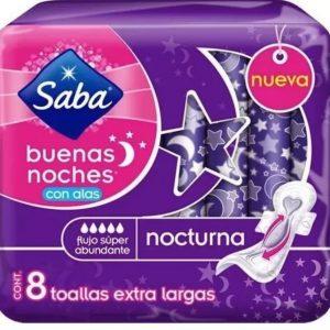 "Toallas Intimas ""Buenas Noches"" con Alas 8 Toallas marca Saba"