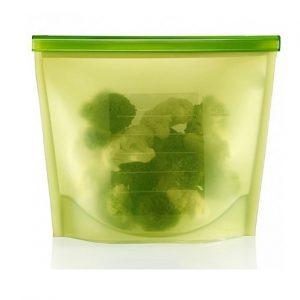 Bolsa plastica para alimentos de silicona color verde