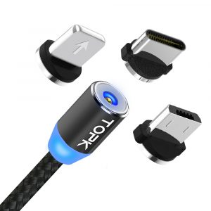 Cable Magnético de Carga USB Tipo C (Intercambiable) de 1 Metro marca Topk color Negro