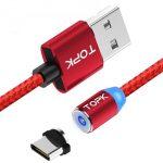 Cable Magnético de Carga USB Tipo C (Intercambiable) marca Topk color Rojo