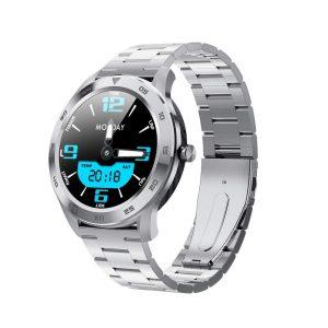 Reloj Inteligente DT-98 marca No. 1 color Plateado con Pulsera Métalica