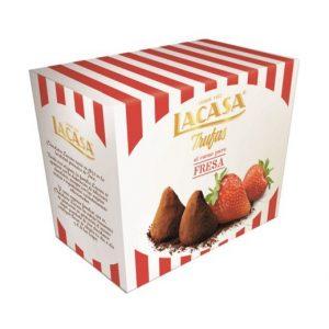 Trufas al cacao puro sabor fresa marca LACASA