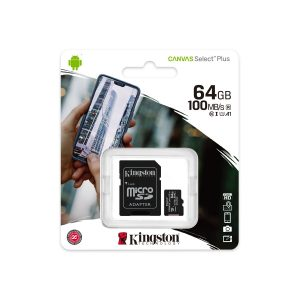 Tarjeta MicroSD de 64GB Canvas Select Plus Clase 10 marca Kingston para Android