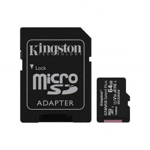 Tarjeta MicroSD de 64GB Canvas Select Plus Clase 10 marca Kingston para Android