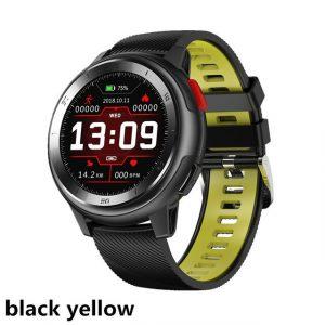 Reloj Inteligente DT-68 marca No. 1 Color Negro con Pulsera Negro con Amarillo