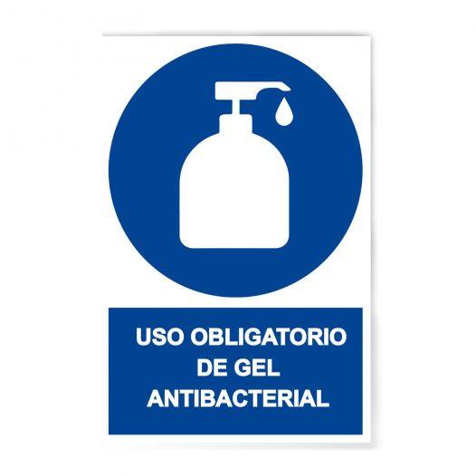 Rotulo Obligatorio uso de gel antibacterial 20 X 30 (cm) material estireno