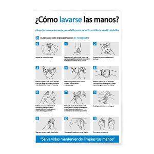 Rotulo Como lavarse las manos 30 X 45 (cm) material estireno