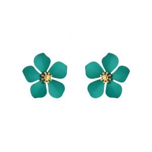 Aretes con diseño de flor color turquesa