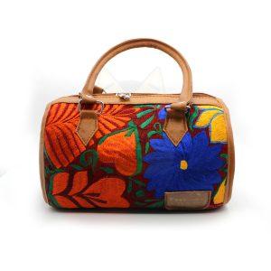 Bolso Barrilito color Gena con Diseño Tipico Floreado