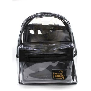 Mochila Transparente Bordado Negro con Bolsa Interior Negra