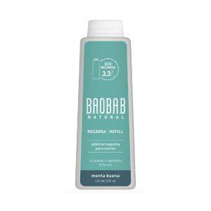 Jabón para Manos Espuma Menta Buena Refill 1000ml Baobab Natural