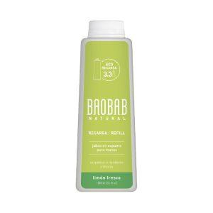 Jabón para Manos Espuma Limón Fresco Refill 1000ml Baobab Natural