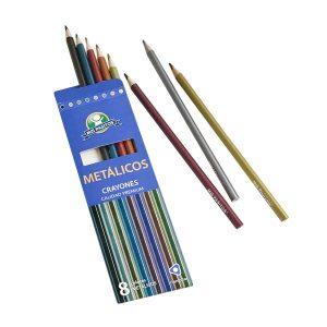 Crayones Triangulares colores Metalicos 8 und marca Mis Pasitos