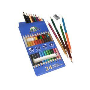 "Crayones Triangulares 7"" Premium 12/24 Colores + Sacapuntas marca Mis Pasitos"