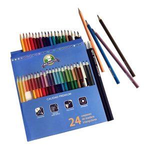 """Crayones Triangulares 7"""" Premium  24 Colores + 2 Lapices marca Mis Pasitos"""
